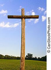 stary, nierówny, krzyż, krajobraz