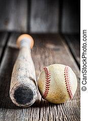 stary, nietoperz, piłka, baseball