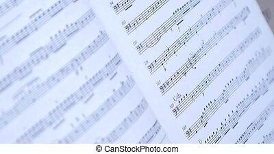 stary, notatki, -, do góry, muzyka, retro, zamknięcie