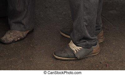 stary, obuwie, żebrak, brudny