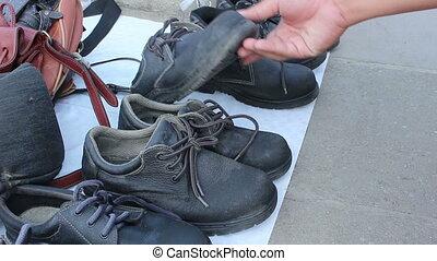 stary, obuwie, bezpieczeństwo, zróbcie zakupy ulicę