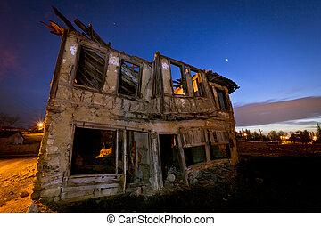 stary, opuszczony, długi, dom, polowanie, ekspozycja