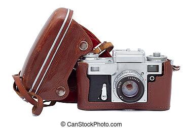 stary, osłona, odizolowany, tło., aparat fotograficzny, biały