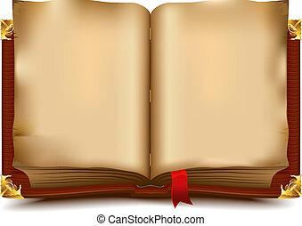 stary, otwarta książka