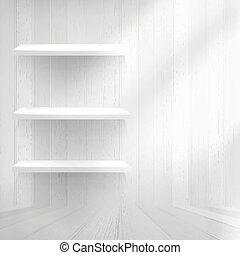 stary, półka, +, wall., drewno, eps10, opróżniać