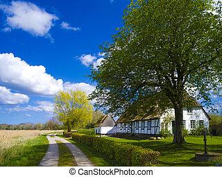 stary, północny, dach, niemcy, chata, poszywany