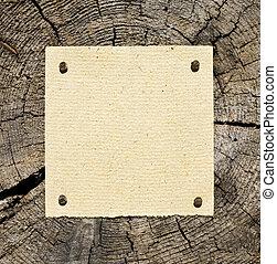 stary, papier, na, drewniany, tło