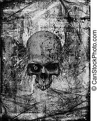 stary, papier, z, czaszka