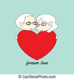 stary, para, miłość