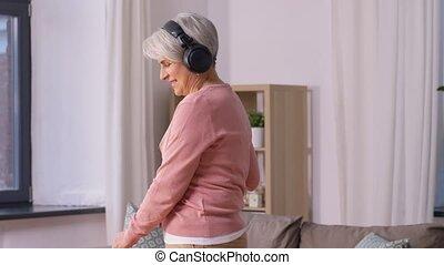 stary, podłoga, kobieta, słuchawki, janowiec, czyszczenie