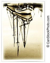 stary, port, łódki