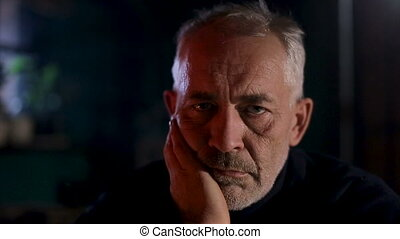 stary, posiedzenie, wyrażenie, thoughtfull, senior, smutny, kominek, człowiek