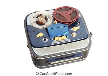 stary, przenośny, odizolowany, magnetofon, biały