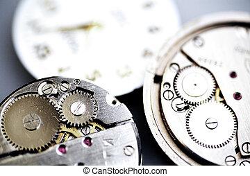 stary, przybory, zegar, metal, mechaniczny, koła