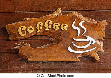 stary, retro, znak, z, przedimek określony przed rzeczownikami, tekst, kawa, shop.