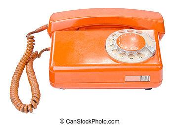 stary, rocznik wina, telefon, odizolowany, tło, biały