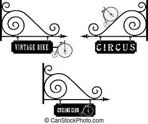 stary, rower, komplet, uliczne oznakowanie