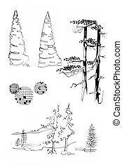 stary, stylization, drzewa, modny, atrament, lineart, ...