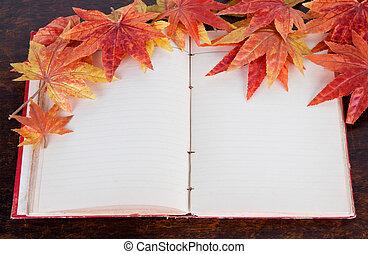 stary, sztuczny, jesień, książka, liście, otwarty, klon