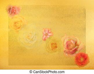 stary, tło, barwny, róże, modny, grunge