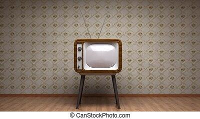 stary, telewizja, w, room., retro tytułują, colors.