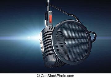 stary tytułują, mikrofon, na, błękitne tło