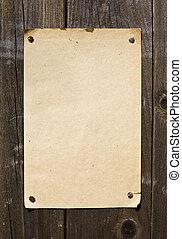 stary tytułują, retro, papier, na, drewniana ściana