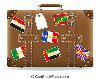 stary, walizka, dla, podróż, i, etykieta