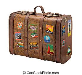 stary, walizka, z, royaly, wolny, podróż, majchry