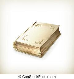 stary, wektor, książka, ikona