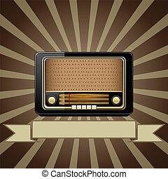 stary, wektor, radio