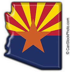 state), arizona, (usa, bandera, mapa, botón, forma