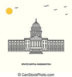 STATE CAPITAL WASHINGTON Monument. World Travel Natural illustration Background in Line Style