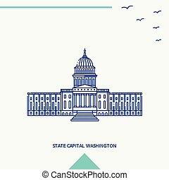 STATE CAPITAL WASHINGTON skyline vector illustration
