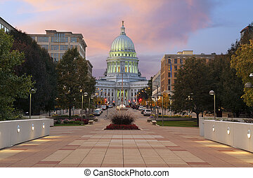 State capitol building, Madison. - Image of state capitol...