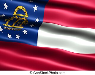State flag: Georgia - Computer generated illustration of the...