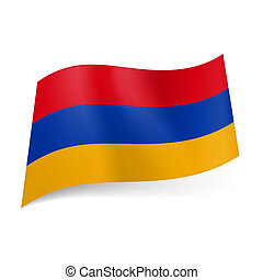 National flag of Armenia: red, blue and yellow horizontal stripes.