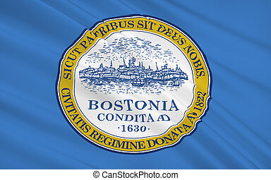 State Flag of Boston - the capital and largest city of the state of Massachusetts in the United States