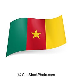 National flag of Cameroon: green, red and yellow vertical stripes with golden star on central band