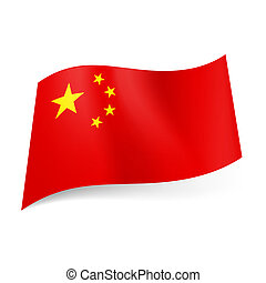State flag of China. - National flag of China: big golden...