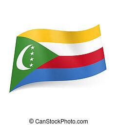 State flag of Comoros - National flag of Comoros. Yellow,...