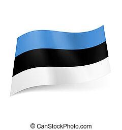 National flag of Estonia: blue, black and white horizontal stripes.