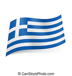 National flag of Greece: blue and white horizontal stripes with white cross in blue square in upper left corner.