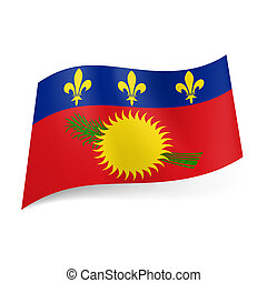 Flag of Guadeloupe - State Flag of Guadeloupe. Yellow sun...