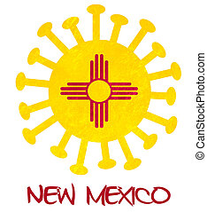 State flag of New Mexico with corona virus or bacteria - Isolated on white