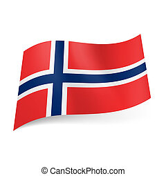 State flag of Norway. - National flag of Norway: white ...