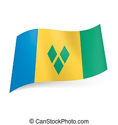 State flag of Saint Vincent and the Grenadines. - National...