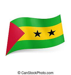 State flag of Sao Tome and Principe. - National flag of Sao...
