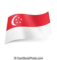 National flag of Singapore: red stripe with crescent moon and five stars in circle above white one.