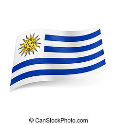 State flag of Uruguay. - National flag of Uruguay: white and...